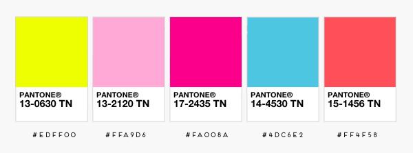 Fluorescent Pantone Color Chart