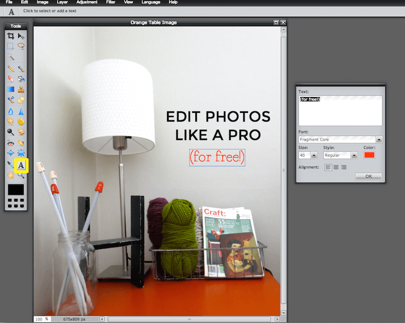 Image editing for bloggers - How to add text to an image online for free