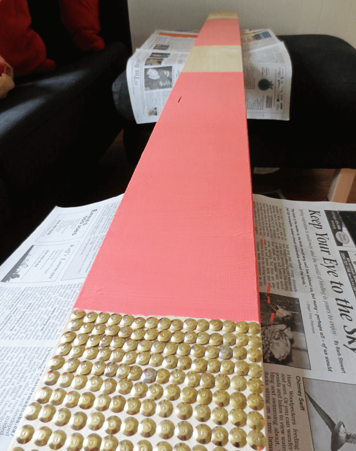 Thumbtack and painted peach table runner, in progress. (Table for 1200, Winnipeg)