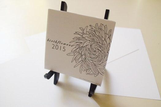 2015 Flower Line Art Desk Calendar