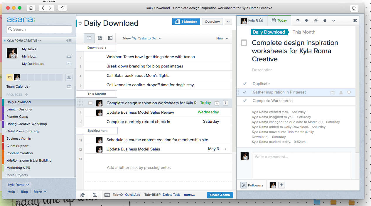 Daily Download in Asana