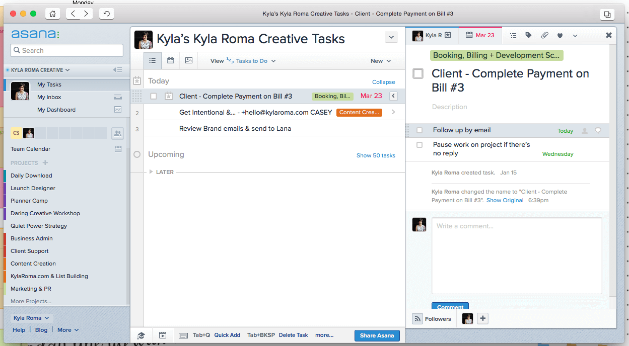Daily Task Management in Asana