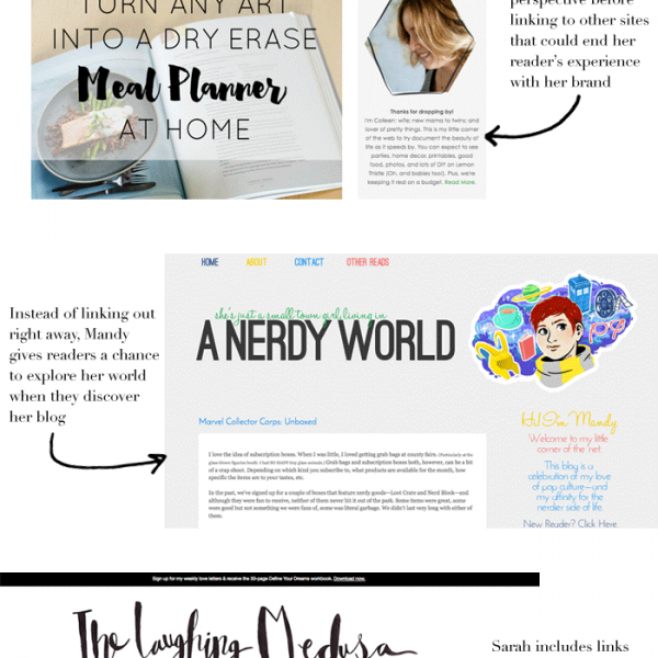 Stop your blog from sending readers away! Examples of linking with intention from KylaRoma.com